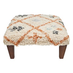 Custom Footstool with New Legs and Cotton Textile from India Top