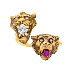 Custom French Art Nouveau Gold & Diamond Accent Animal Head Ring