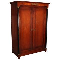 Custom French Empire Neoclassical Mahogany, Ebonized & Bronze Two-Door Cabinet