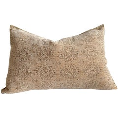 Custom French Linen Blend Chenille Stone Washed Jacquard Pillow with Down Insert