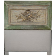 Custom French Painted and Parcel Gilt Headboard, Queen Size