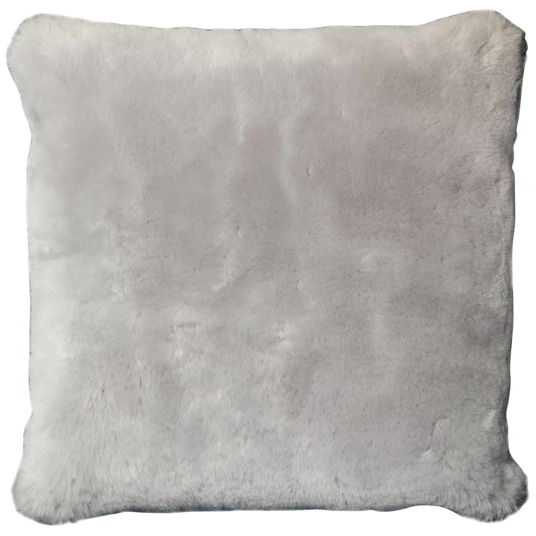 Genuine Shearling Pillow in Platinum Color