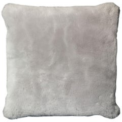 Genuine Shearling Pillow in Platinum Color