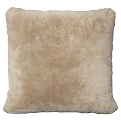 Genuine Shearling Pillow in Taupe Color
