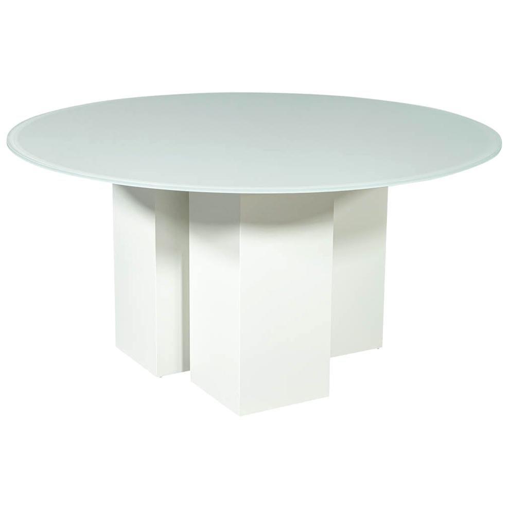 Custom Geometric Base Glass Top Dining Table
