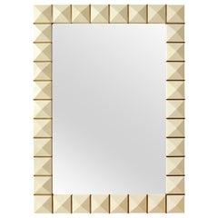 Custom Geometric Parchment Mirror with Inlaid Brass