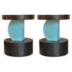 Custom Geometric Post-Modern Handmade Walnut Color Blue and Black Side Tables