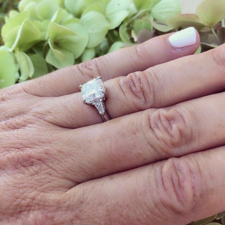 Women's Custom GIA 3.01 Carat, F/VS1 Cushion Diamond Ring For Sale