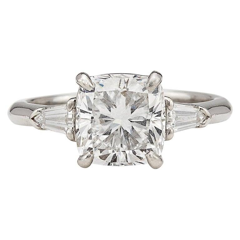 Custom GIA 3.01 Carat, F/VS1 Cushion Diamond Ring For Sale