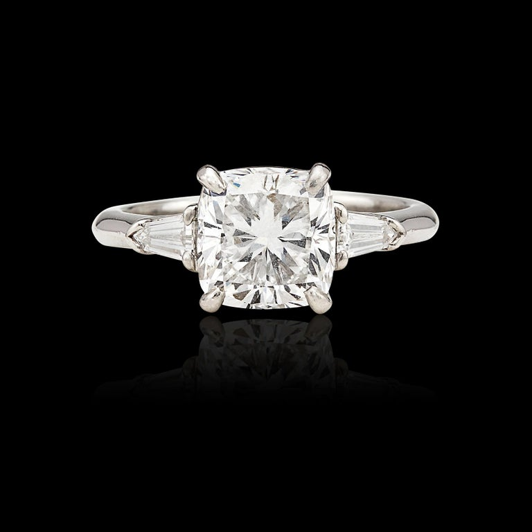 Custom GIA 3.01 Carat, F/VS1 Cushion Diamond Ring In Excellent Condition For Sale In San Francisco, CA