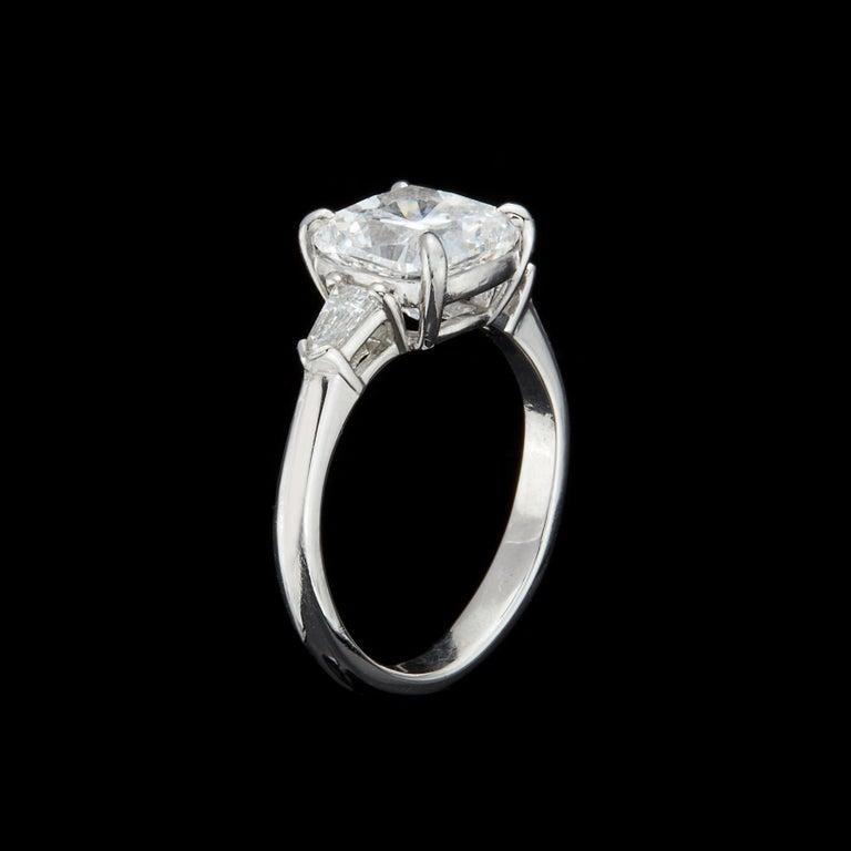 Custom GIA 3.01 Carat, F/VS1 Cushion Diamond Ring For Sale 1