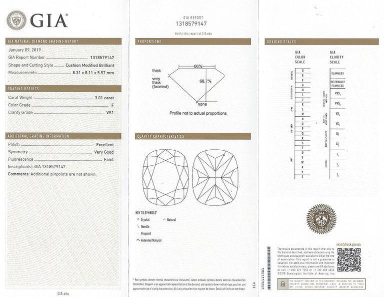 Custom GIA 3.01 Carat, F/VS1 Cushion Diamond Ring For Sale 2
