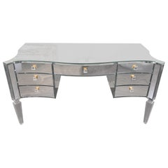 Custom Glamorous Mirrored Writing Desk with Acrylic Legs