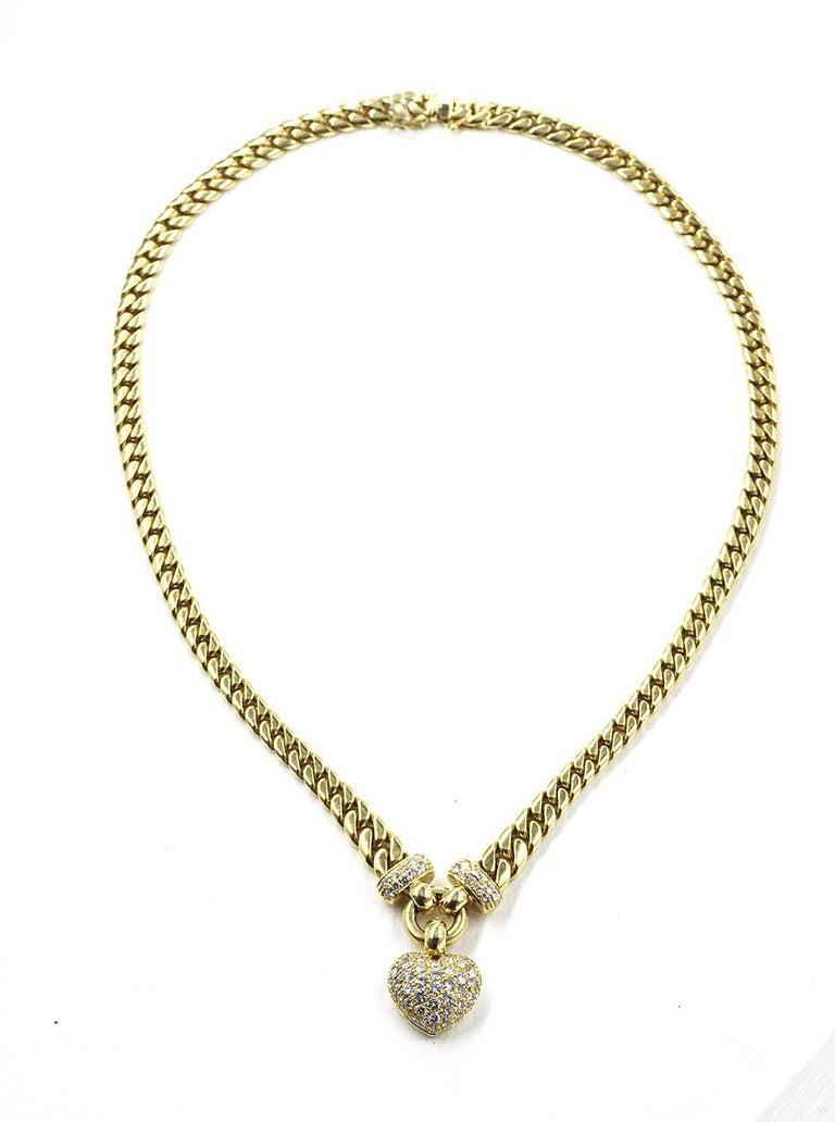 Custom gold diamond heart pendant necklace with 18 karat miami cuban custom gold diamond heart pendant necklace with 18k miami cuban link chain 88 diamonds 252 aloadofball Image collections