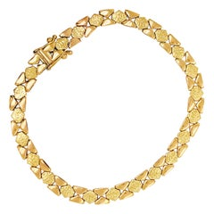 Custom Gold Textured Chain Bracelet, 14 Karat Gold Diamond Shaped Wide Chain