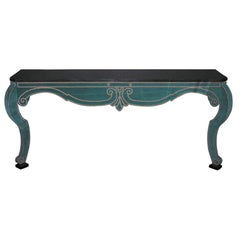 Green Teal Velvet Wall Mount Console with Black Granite Top