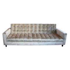 Custom Grey Velvet Tufted Sofa by Adesso Imports