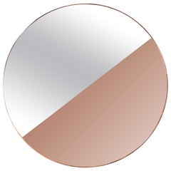 Custom Half Silver Half Apricot Round Mirror with Copper Frame by Adesso Imports