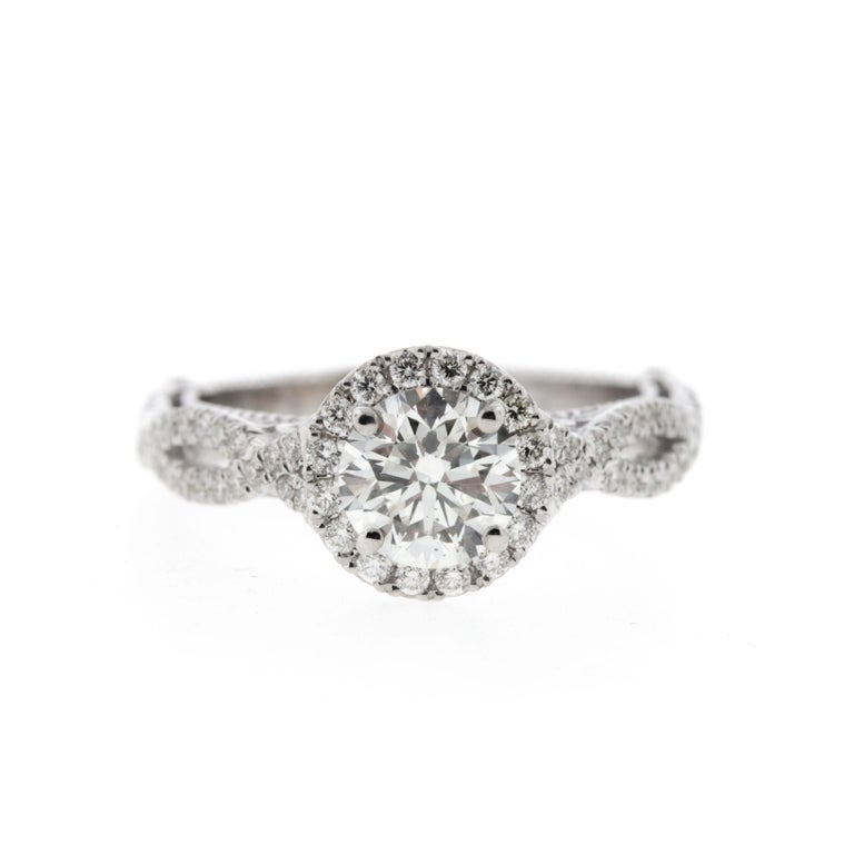 Modern Custom Halo Diamond Engagement Ring with Cathedral Gallery & Peekaboo Diamond For Sale