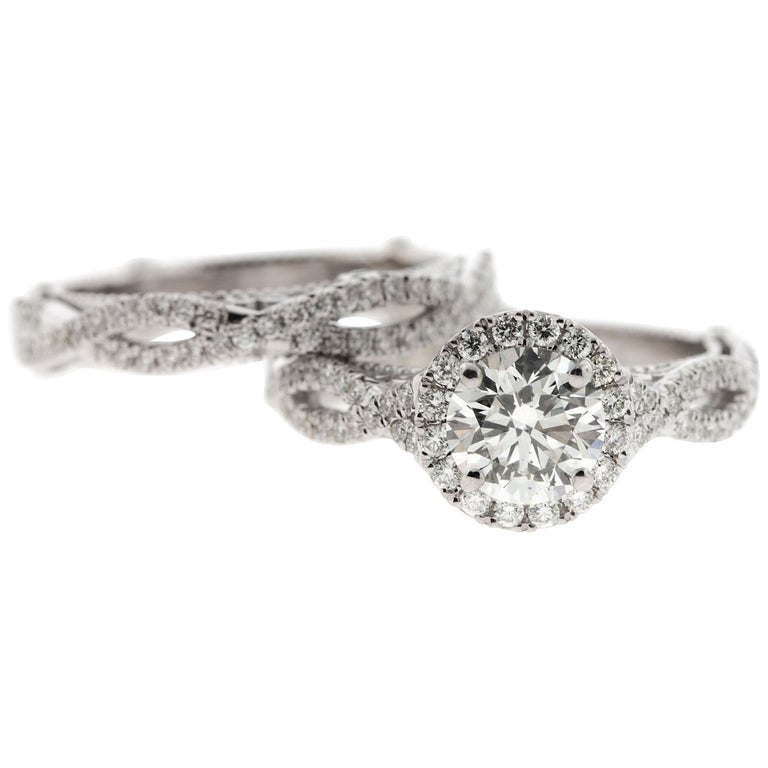 Custom Halo Diamond Engagement Ring with Cathedral Gallery & Peekaboo Diamond For Sale