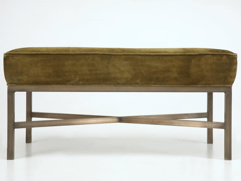 New handmade in our Chicago workshop a custom bench with antiqued solid bronze frame and upholstered seat cushion. This Minimalist bench is elegant in its simplicity and can be reproduced in any dimension. The frame can also be made in steel,