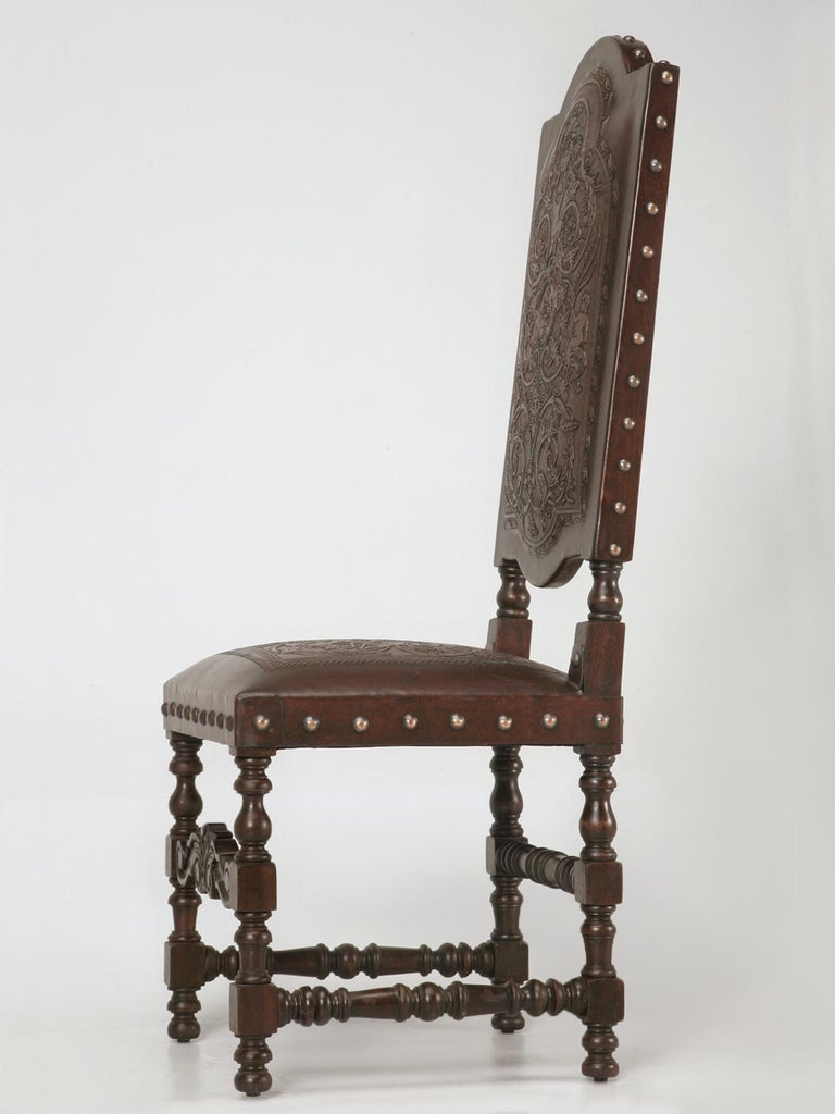 Custom Hand-Made Spanish Style Tooled Leather Side Chairs Special Order Only For Sale 4