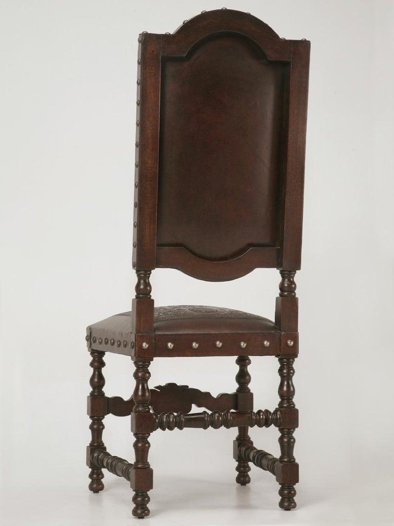 Custom Hand-Made Spanish Style Tooled Leather Side Chairs Special Order Only For Sale 5