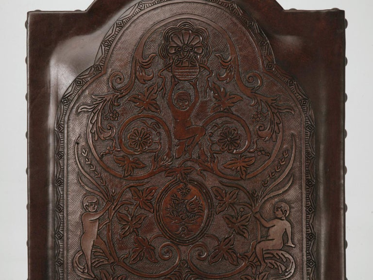 Peruvian Custom Hand-Made Spanish Style Tooled Leather Side Chairs Special Order Only For Sale