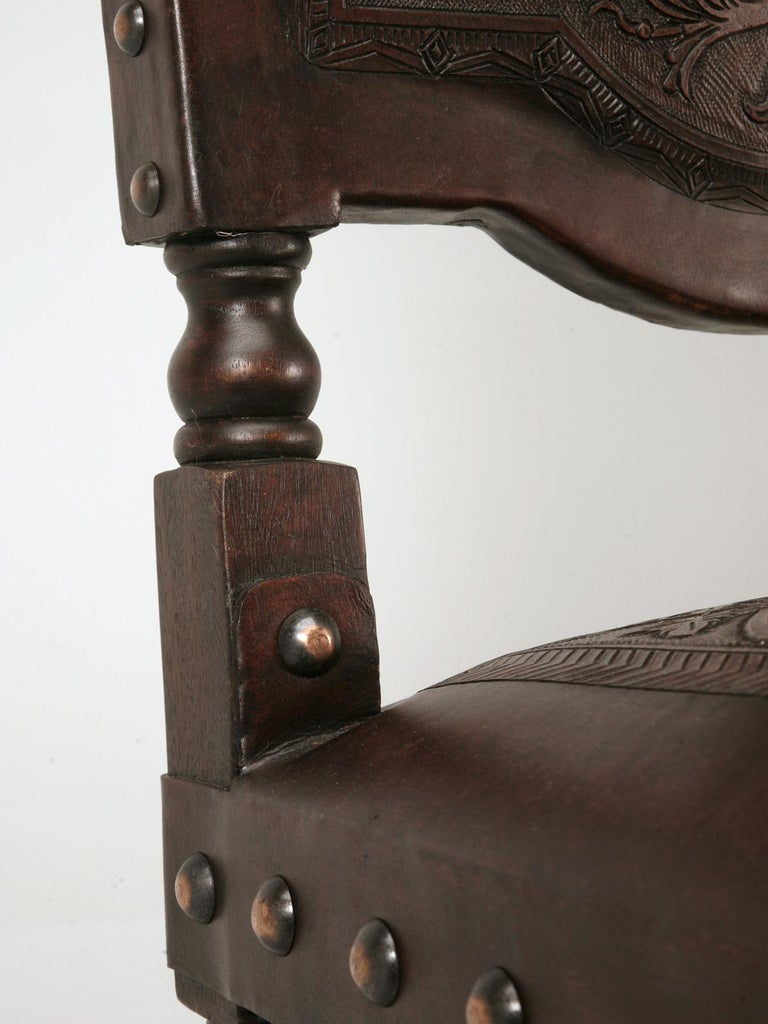 Hand-Crafted Custom Hand-Made Spanish Style Tooled Leather Side Chairs Special Order Only For Sale