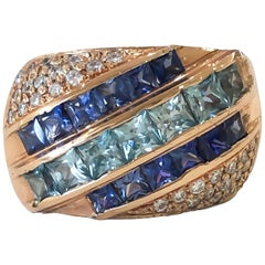 Custom Handmade Blue Sapphire and Blue Zircon 18 Karat Rose Gold Ring