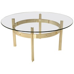 Custom Handmade Modern Polished Brass and Glass Coffee Table or Dining Table