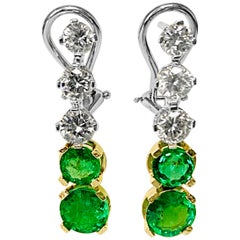 Custom Handmade New 4.44 Carat Diamond Emerald Earrings