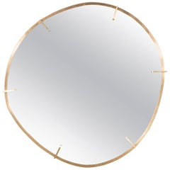 Custom Handmade Organic Modernist Mirror in Burnished Brass