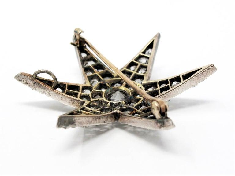 Custom Handmade Victorian 7.05 CTW Diamond Star Brooch / Pendant Gold & Sterling For Sale 5