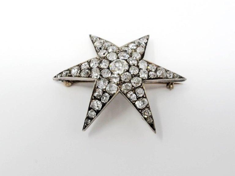 Old European Cut Custom Handmade Victorian 7.05 CTW Diamond Star Brooch / Pendant Gold & Sterling For Sale