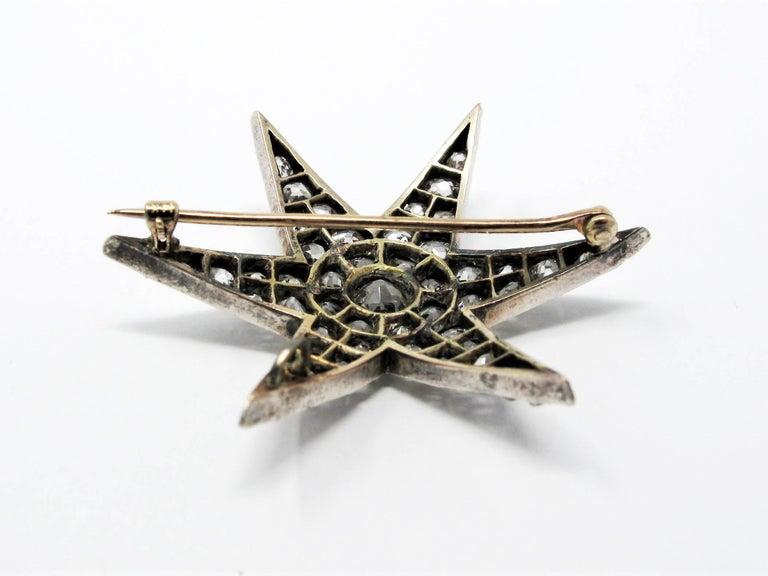 Women's or Men's Custom Handmade Victorian 7.05 CTW Diamond Star Brooch / Pendant Gold & Sterling For Sale