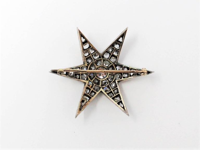 Custom Handmade Victorian 7.05 CTW Diamond Star Brooch / Pendant Gold & Sterling For Sale 1