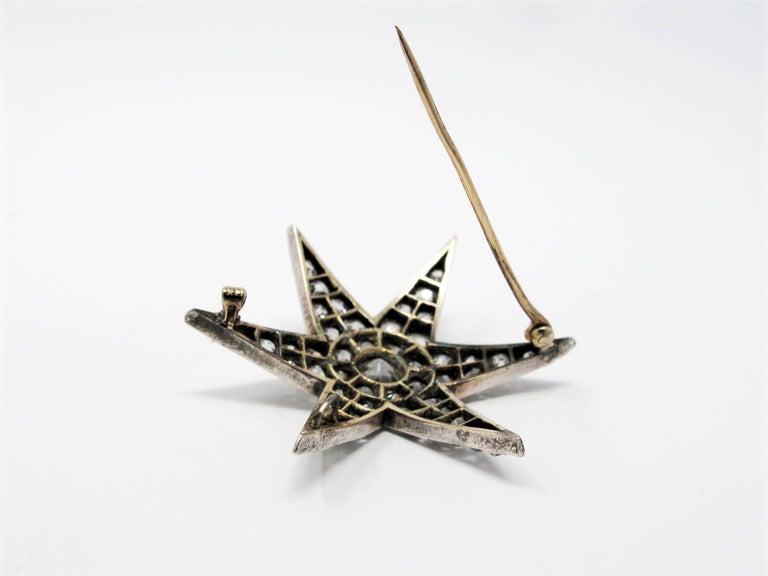 Custom Handmade Victorian 7.05 CTW Diamond Star Brooch / Pendant Gold & Sterling For Sale 2