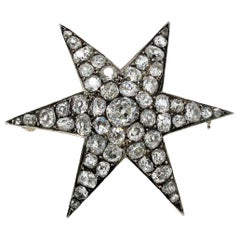 Custom Handmade Victorian 7.05 CTW Diamond Star Brooch / Pendant Gold & Sterling