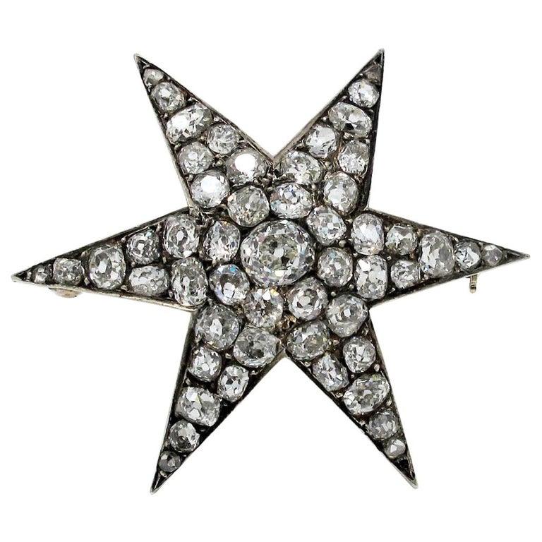 Custom Handmade Victorian 7.05 CTW Diamond Star Brooch / Pendant Gold & Sterling For Sale