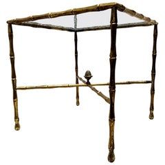 Custom Hollywood Faux Bamboo Brass Side Table by Arturo Pani