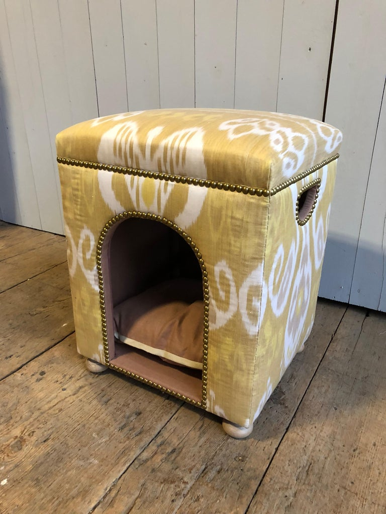 Louis XVI Custom Ikat Dog Bed For Sale