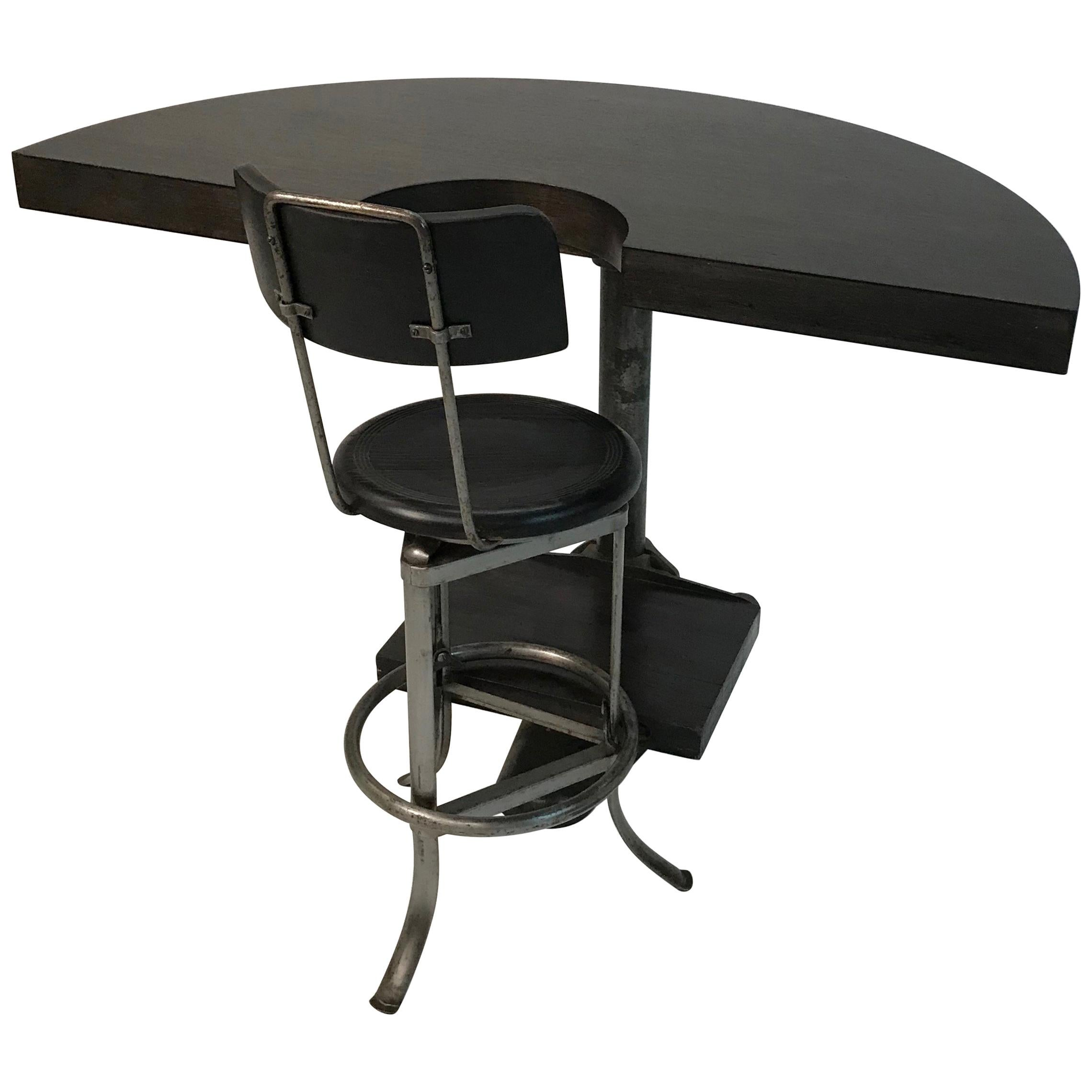 Custom Industrial Demilune Counter Desk