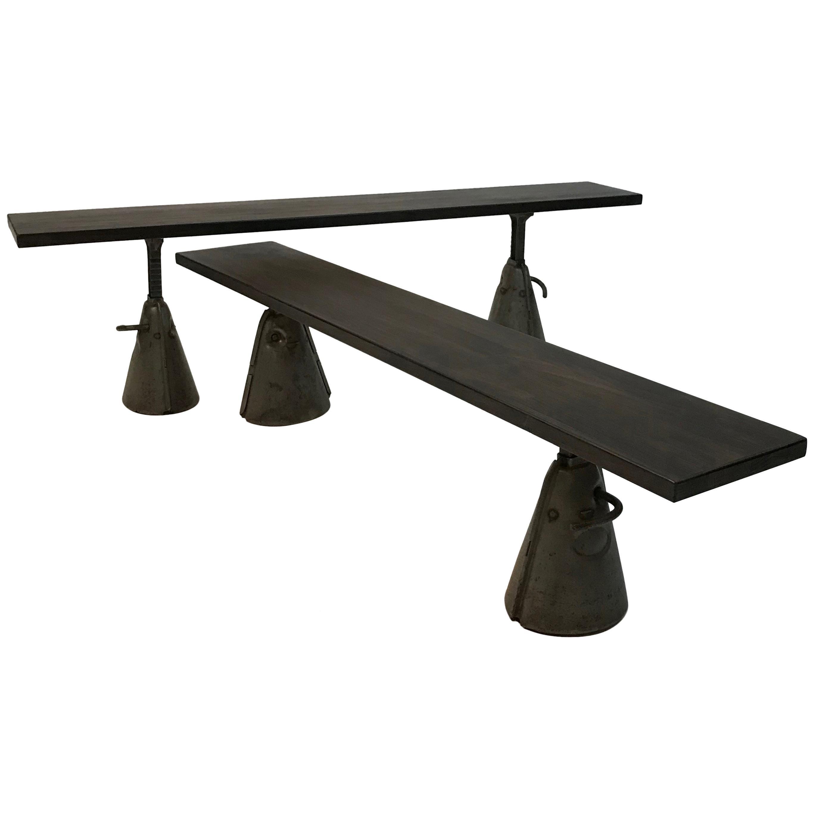 Custom Industrial Ebonized Maple and Steel Bench