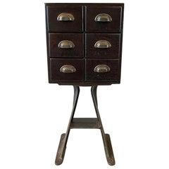 Custom Industrial Ebonized Oak Index Cabinet