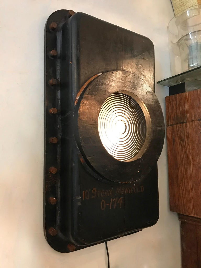 20th Century Custom Industrial Foundry Pattern Wall Sconce Light For Sale