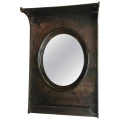 Custom Industrial Gunmetal Steel Entryway Foyer Mirror