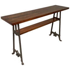 Custom Industrial Maple And Cast Iron Console Table