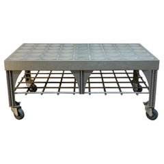 Custom Industrial Steel Coffee Table with Faceted Glass Top