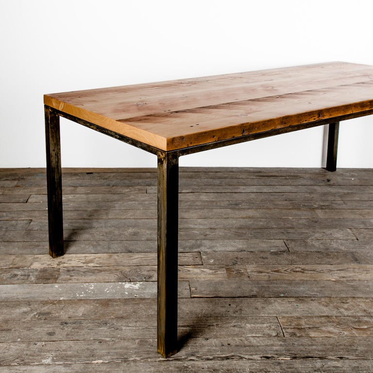 Our Workshop table is modeled after the simple utilitarian design of an original workbench. Semi-ground welds and intentional machine marks are scars of the journey this table has taken to where it is now. Over the course of this table's